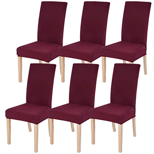 SearchI Dining Room Chair Covers Slipcovers Set of 6, Spandex Fabric Fit Stretch Removable Washable Short Parsons Kitchen Chair Covers Protector for Dining Room, Hotel, Ceremon (Wine Red, 6 per Set)