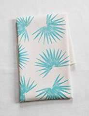 Tea Towel - Organic Cotton - Fan Palm Design in Mint Green