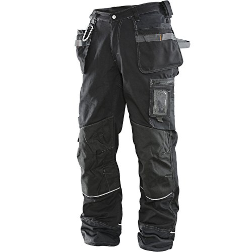 JOBMAN Workwear Men's Ultra Workpants with Kevlar Knees, Black, 32x32 (Heavy Duty Work Pants)