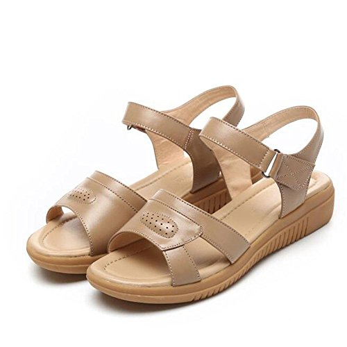 Girls L@YC Women'S Sandals Fish Mouth Summer Flat High Slope With Leather Soft Skid anti Skid Large Size Dress Ladies Shoes , brown , 42