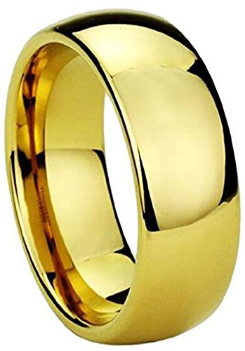 (18K Gold Plated High Polished Rings Comfort Fit Domed Tungsten Carbide Wedding Band Ring(11))