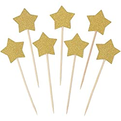 Zicome 50 Pack Double Sided Gold Glitter Cupcake Toppers Attached with Sticks for Baby Bridal Shower Birthday Party and Wedding (Star)