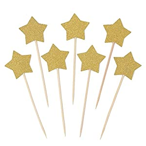 WARMBUY 50 Pack Double Sided Gold Glitter Cupcake Toppers Attached with Sticks for Baby Bridal Shower Birthday Party and Wedding (Star)