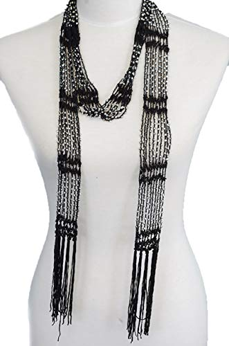 Fishnet Beaded Scarf, summer Belt, infinity scarf, necklace (BLS01-BLK)