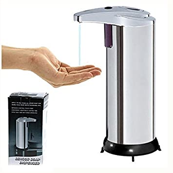 Premium Automatic Fingerprint Pump, WHOMEC Resistant Stainless Steel Touchless Soap Dispenser with LED Light and Waterproof Base - -Perfect for Bathroom Or Kitchen (Silver)