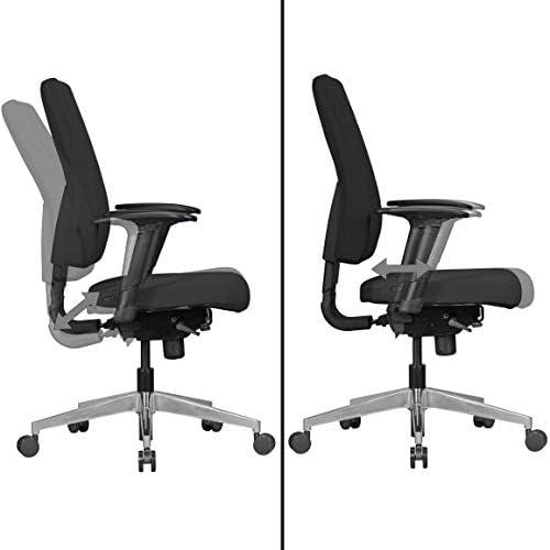 FineBuy Bürostuhl Dave mit Stoff Bezug in Schwarz | Design Schreibtisch Stuhl mit Synchromechanik & Armlehnen | Drehstuhl Drehsessel ergonomisch 120