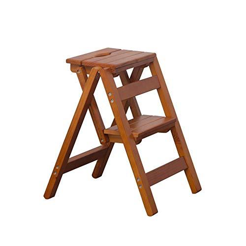 OhLt-j Cocina de los taburetes, escalera de los taburetes Escalera plegable de multiples funciones Escalera de engrosamiento Silla interior Escalada Dos pasos Madera maciza (Color: Negro, Tamano: 38 *