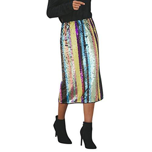 Women Sequin Striped Skirt Clearance Sale, NDGDA Sexy Patchwork Split Hem Party High Waist Skirt