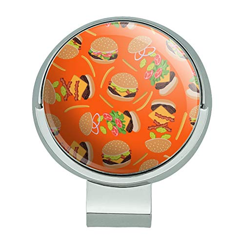 GRAPHICS & MORE Hamburger Cheeseburger Pattern with Fries and Bacon Golf Hat Clip with Magnetic Ball Marker