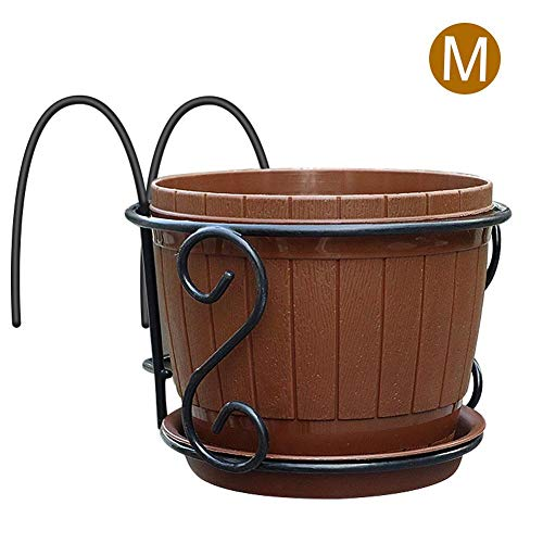 PROKTH S-Shaped Hook Flower Stand European Wrought Iron Balcony Railing Flower Shelf Hanging Fence Flower Stand Hanging Flower Rack Round Wall Hanging Flower Pot Rack
