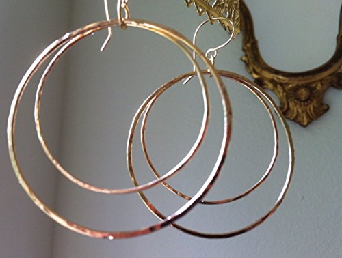 - Gold Hoop Earrings, Hammered Double Hoops in 14 KT Gold Filled Wire, 2 1/2