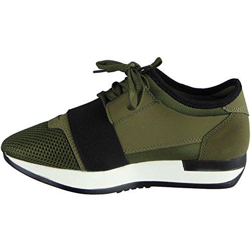 Damen Laufen Gym die Sportarten Spitze Oben Schuhe Größe 36-41 Grün