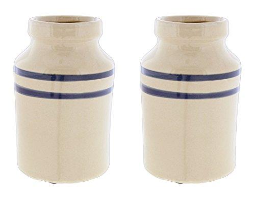 PD Home & Garden Set of 2 Beige & Blue Ceramic Vases 5