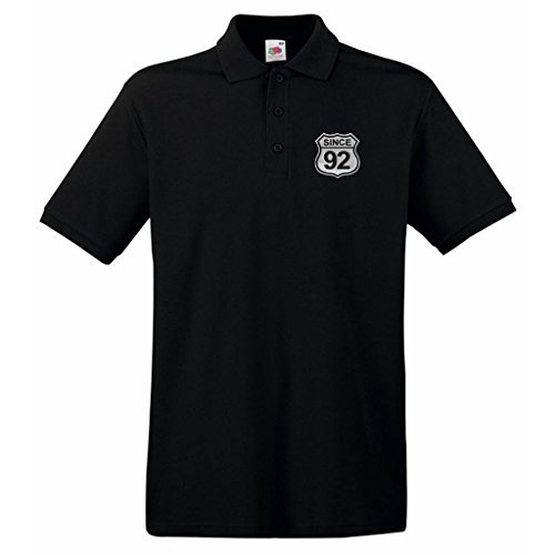 Geburtsjahr US Straßenschild Route 66 Style since 92 Design Besticktes Poloshirt