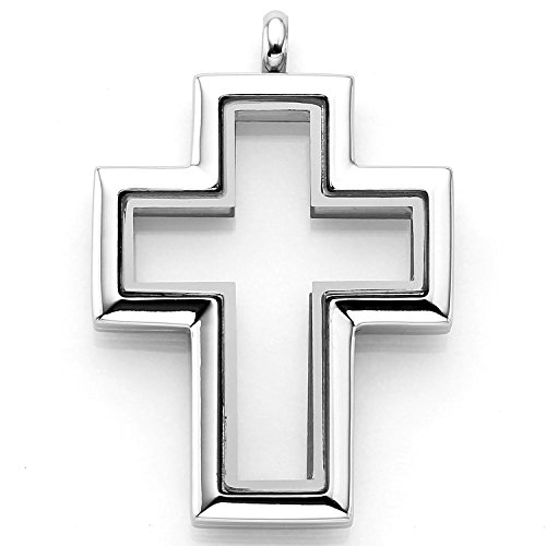 316 Stainless Steel Magnetic Closure Floating Charm Memory Locket Cross Pendant (Locket Religious Cross)