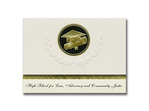 Signature Announcements High School for Law, Advocacy and Community Justic Graduation Announcements, Presidential Elite Pack 25 w/ Gold & Black Cap&Diploma Seal