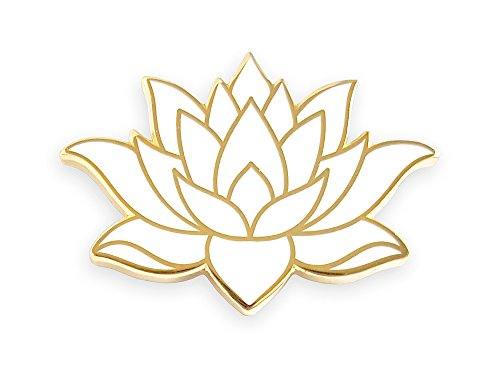 White Enamel Flower Pin (Pinsanity White Lotus Flower Enamel Lapel Pin)