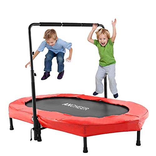 ANCHEER Mini Rebounder Trampoline with Adjustable Handle for Two Kids, Parent-Child Trampoline (Red)