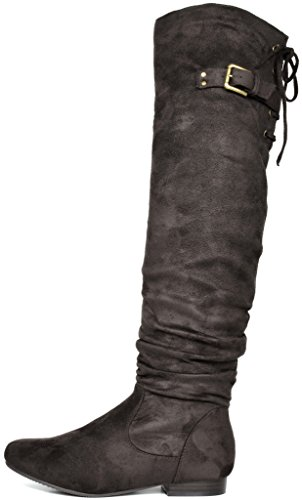 DREAM PAIRS Women's Colby Brown Over The Knee Pull On Boots - 5.5 M US