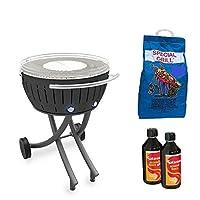 Special Grill Lotusgrill YesEatIS Edelstahl Stahl Kunststoff schwarz kleiner Exclusive Camping Balkon Garten Picknick ✔ rund ✔ tragbar rauchfrei ✔ Grillen mit Holzkohle ✔ für den Tisch
