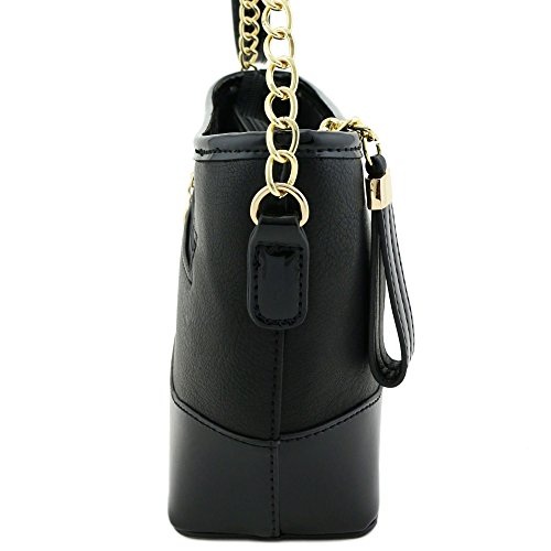 Shoulder Strap Leather Contrast Chain Patent Bag Black Trim with TAxqaw