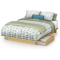 South Shore Copley Full/Queen Wood Platform Storage Bed 3 Piece Bedroom Set in Maple