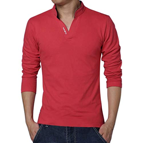Men Clothes Clearance Sale - Mens Casual Solid Long Sleeve Slim Fit T-Shirt Tops by vermers(XL, Red) by vermers