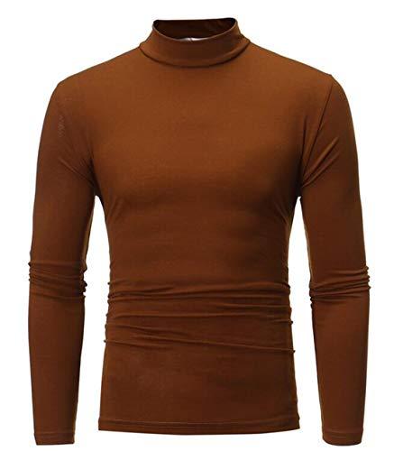 GRMO Men Autumn Mock Thermal Turtleneck Long Sleeve Basic Solid T Shirt Coffee US L