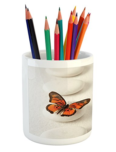 Ambesonne Spa Pencil Pen Holder, Plain Pattern with Butterfly and Rocks Wellness Purity Healing Serenity Bohemian, Printed Ceramic Pencil Pen Holder for Desk Office Accessory, White Orange by Ambesonne (Image #3)