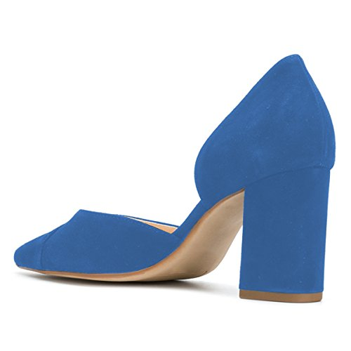 Fsj Vrouwen Elegante Spitse Neus Dorsay Pompen Dikke Kantoor Dame Hoge Hak Comfortabele Kleding Schoenen Maat 4-15 Ons Blauw