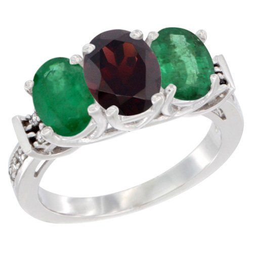 Oval Emerald 3 Stone Ring - 9