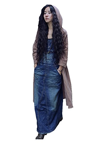 Denim Women's Bohemian Large Size Vintage A Line Long Slit Dress Size M
