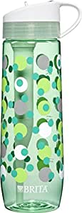Brita 23.7 Ounce Hard Sided Water Bottle with Filter - BPA Free- Mint Polka Dot
