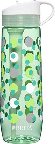 Brita Hard Sided Water Filter Bottle, Mint Polka Dot, 23.7 O
