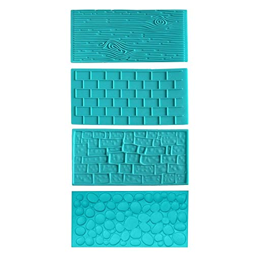 4pc Plastic Embossed Icing Moulds Kits by Kurtzy - Brick, Wood, Cobble and Pebble Stone Designs for Chocolate and Icing - Easy to clean - Perfect for Cake Edging,Cupcakes and Biscuits - Mould Sheets (Press Fondant Brick)