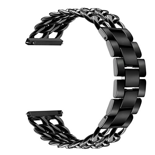 Gear S3 Frontier/Classic Band, V-MORO 22mm Chain Solid Stainless Steel Gear S3 Bands Metal Business Replacement Bracelet Strap for Samsung Gear S3 Frontier/S3 Classic Smart Watch 6.3-8.1 Black