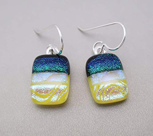 (Modern Art Dichroic Glass Earrings of yellow green dichroic-.925 Sterling silver ear wires #213)