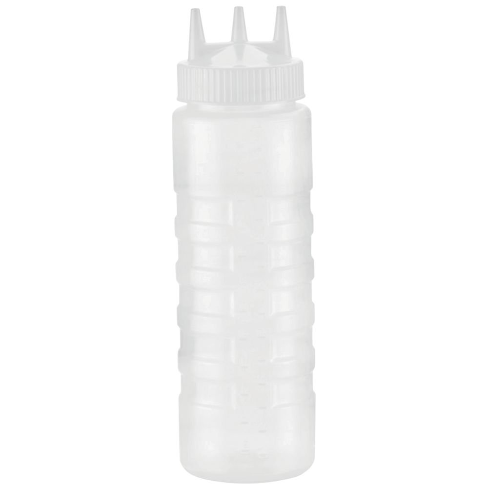 Plastic Squeeze Bottle with White Tri Tip Top 24 oz Clear