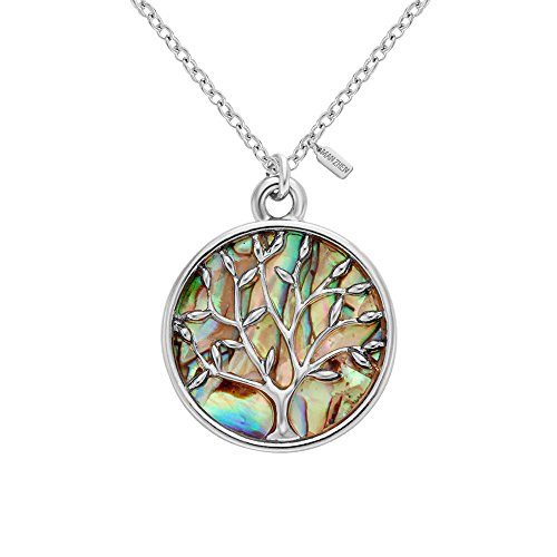 MANZHEN Gold Rose Gold Silver Transparent Natural Abalone Shell Tree Charm Pendant Necklace18'' (silver)