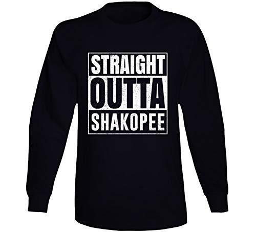 Straight Outta Shakopee Minnesota City Grunge Parody Cool Long Sleeve T Shirt XL Black -