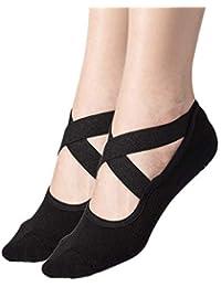 Women's 2-Pack Black Padded Anti-Slip Grips Yoga Pilates Ballet Barre PiYo Socks