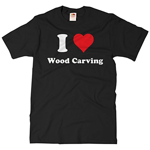 ShirtScope Adult I Heart Wood carving T-shirt - I Love Wood carving Tee 4XL Black