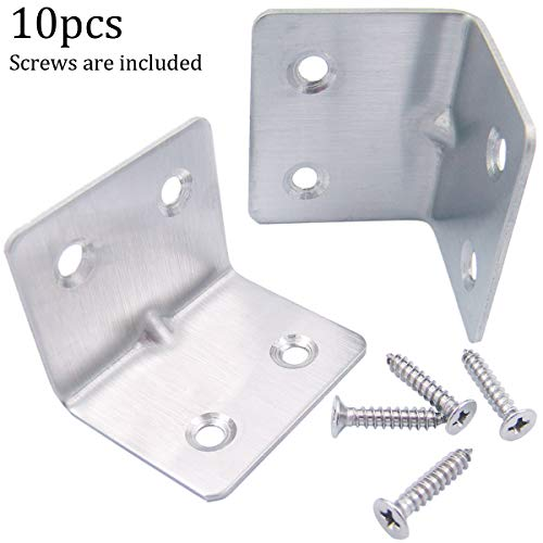 QY 10PCS Silver Tone Stainless Steel 90 Degree Right Angle Support Shelf Bracket Joint Angle Brackets Mending Plates Repair Fixing Joining L Shape ()