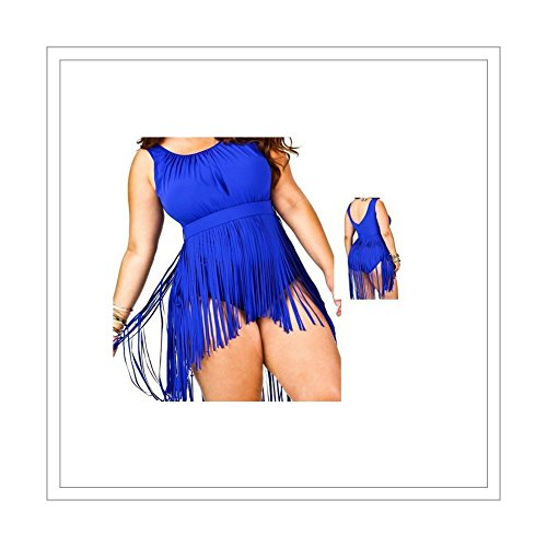 Womens Tassels Bikini One Piece Retro Plus Size Swimsuit Swimwear Blue, Blue, XXX-Large