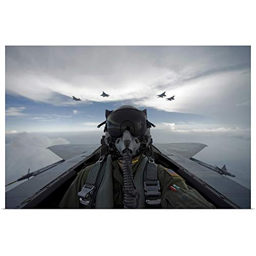 GREATBIGCANVAS Poster Print Entitled US Air Force Pilot During a Sortie with F-15 Eagles and F-22 Raptors by Stocktrek Images 18
