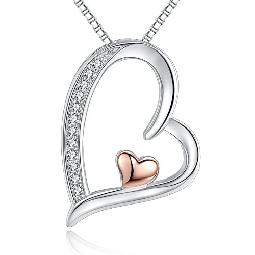Gold Heart Pendant Necklace White Rose Gold Plated Tow Tone Double Love Heart Sterling Silver Necklaces for Girlfriend Women Mom