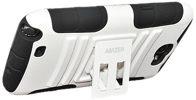 Amzer AMZ95157 Silicone PolyCarbonate Dual Layer Hybrid Case with Kickstand for Samsung Galaxy Note 2 II N7100 - 1 Pack - Retail Packaging - Black/White