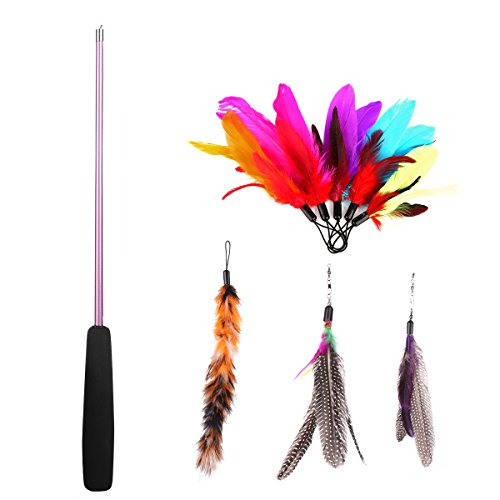8 pc assorted feather cat toy etrech retractable wand for Retractable cat toy