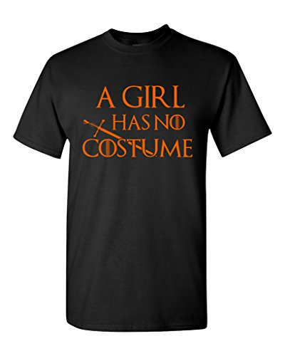 Tyrion Lannister Halloween Costume (A Girl Has No Costume Funny Halloween Parody Adult DT T-Shirts (XXXXX Large, Black w/ Orange))
