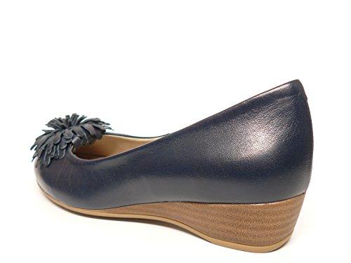 la Zapato moña de Oro Azul 376 PITILLOS mujer cuña marca 351 Marino Oro manoletina en piel ad color rqxHI7wr